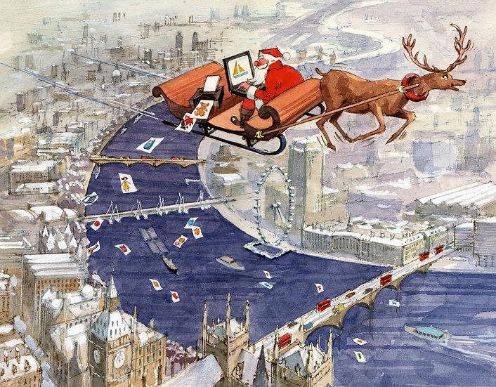 CL28 Santa over London