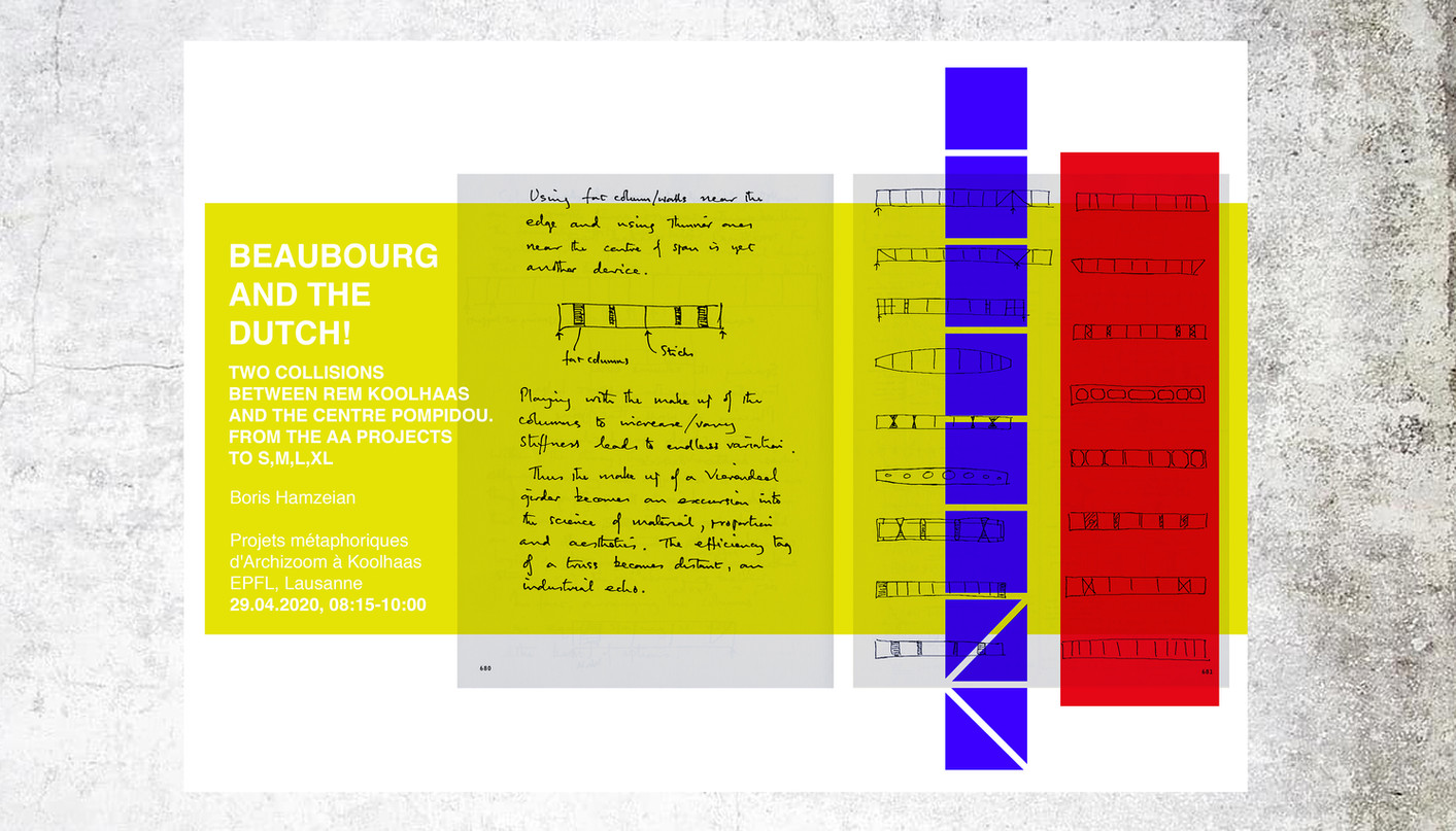 BEAUBOURG AND THE DUTCH. TWO COLLISIONS  BETWEEN REM KOOLHAAS  AND THE CENTRE POMPIDOU. From the AA projects to S, M, L, XL