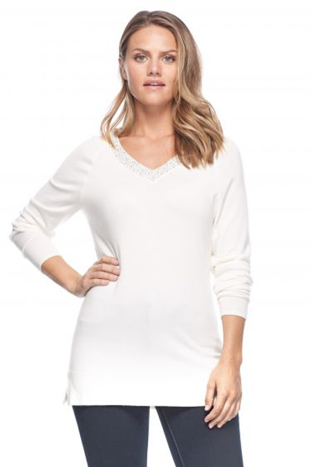 Cold Shoulder with Bead Detail Sweater