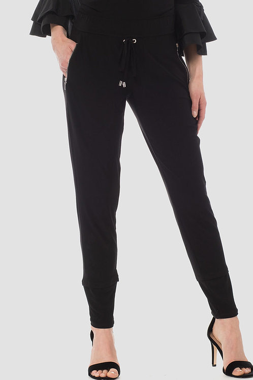 Black Front Tie Casual Pants