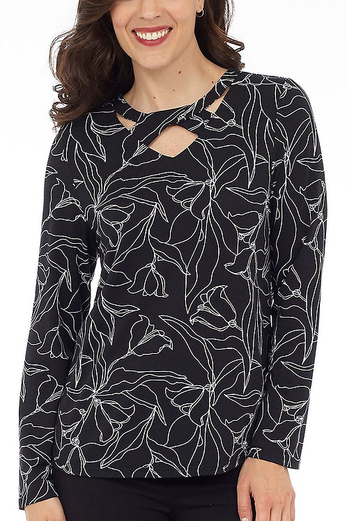 Black & White Long Sleeve Print Top