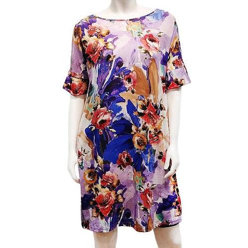Rayon Print Dolman Shift Dress
