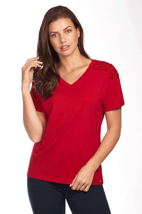 Red Macrame Short Sleeve