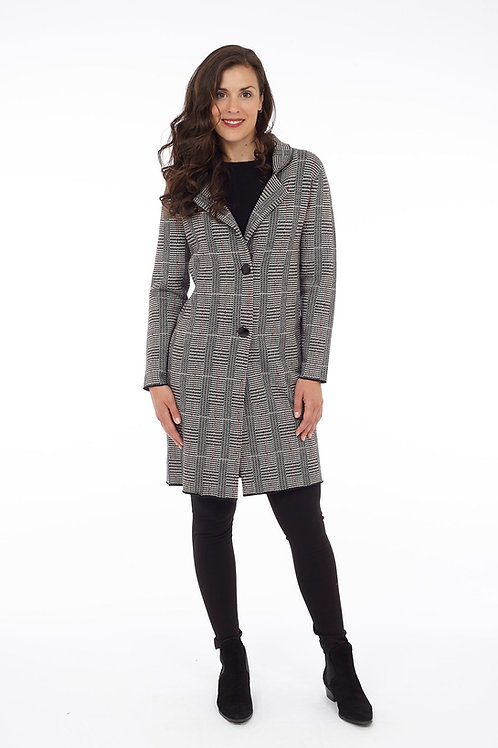 Houndstooth Plaid Double Knit Jacket