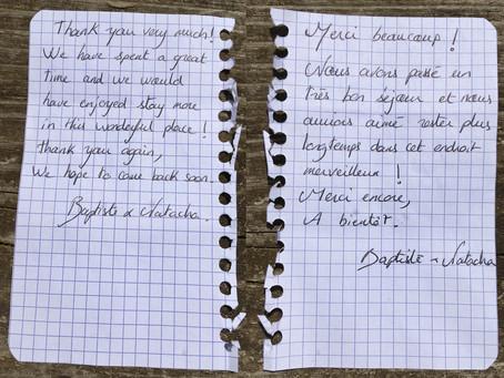 Handwritten note - aout 2018
