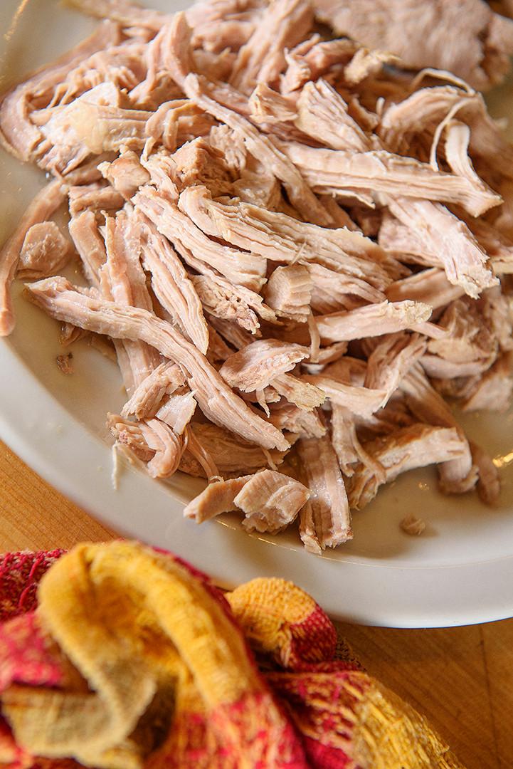 Shredded turkey. ©Krissie Mason