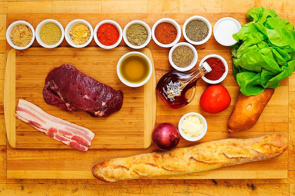 Ingredients for Maple Marinated Wild Game Steak Sandwich