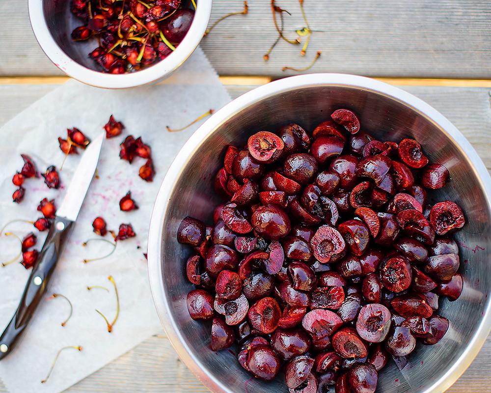 Splittin' and pittin' luscious stone fruits.