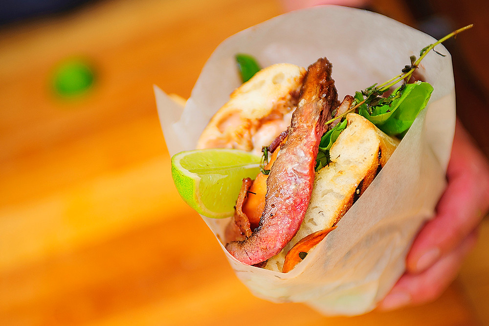 Wrapped and ready. Get a fistful of venison steak sandwich.