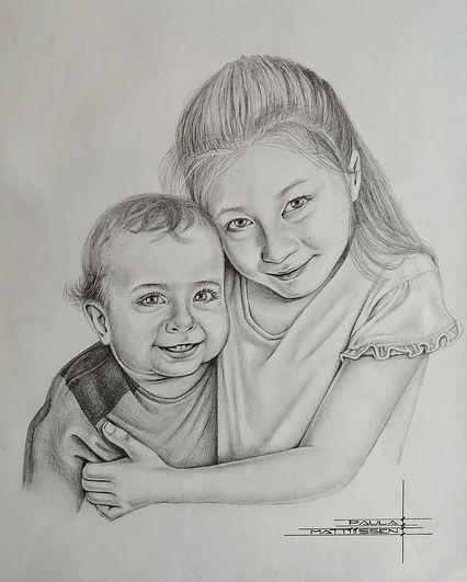 Portrettekening Jenny en Riley