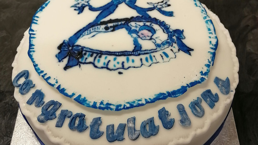 Baby Cradle Plaque  (Blue or Pink) Orchard Celebration Fruitcake