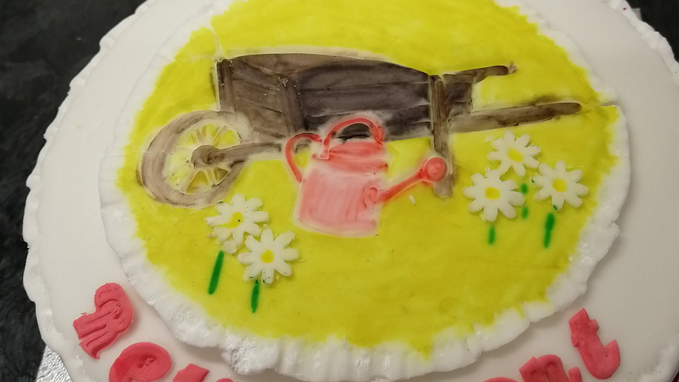 Gardener's Wheelbarrow Plaque Orchard Fruitcake