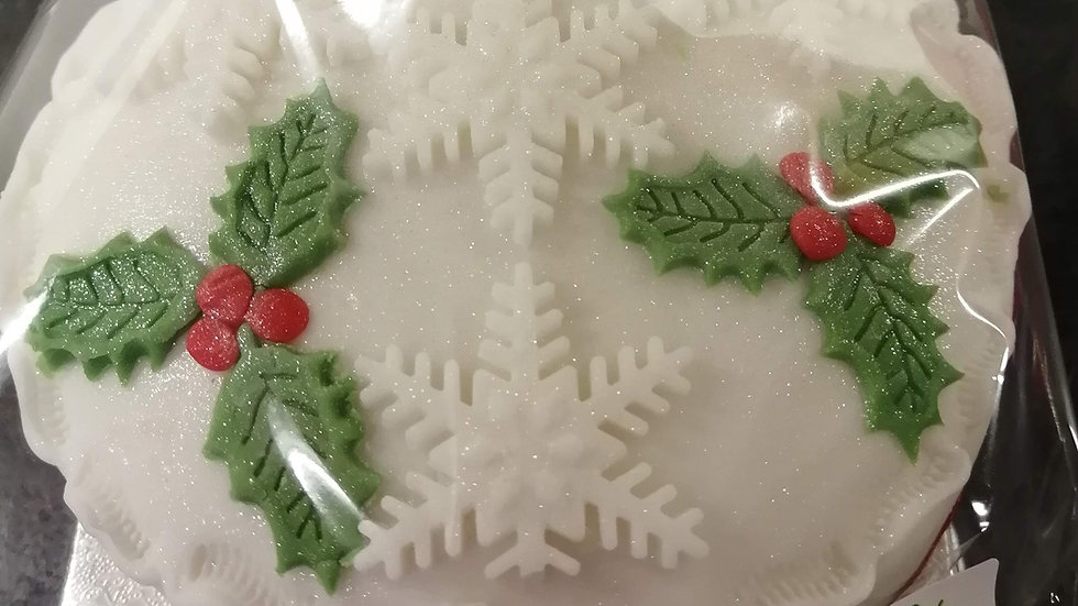 Holly & Snowflake Christmas Cake