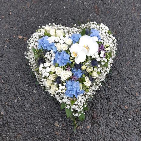 Hjerte i blått og hvitt