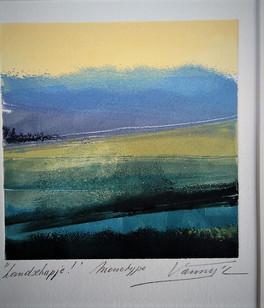 Anny Vancampenhout, Landschapje, monotype, 14x16
