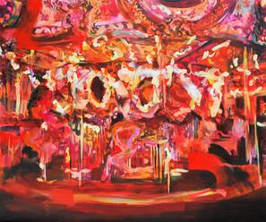 Emmy Asakura, Merry go round/Paardjesmolen, acryl op canvas, 100x120,