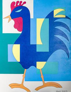 Hildegarde Handsaeme, De haan, acryl op canvas, 90x70
