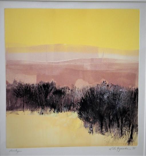 Leen Dereymaeker, Bomen dor en grijs landschap, monotype