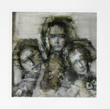 Reinhilde Goedseels, z.t., mixed media op relië vliespapier en doek, 60 x 60