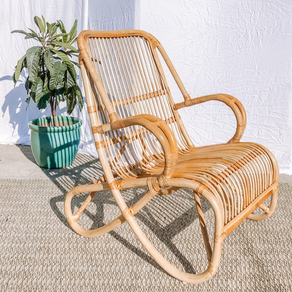 Picture of: Mid Century Rattan Lounge Chair Natureza Decor