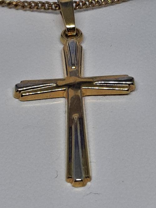 9ct yellow & white gold cross
