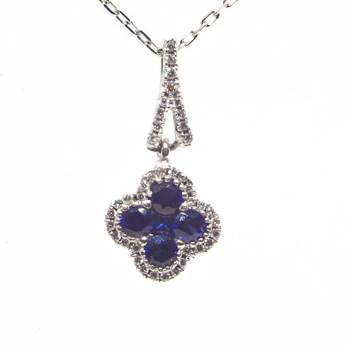 * 18ct gold Sapphire and Diamond pendant and chain