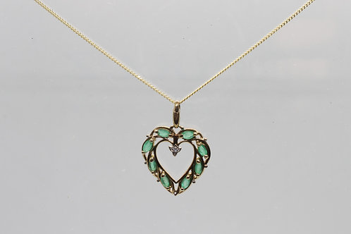 9ct gold Emerald and Diamond pendant