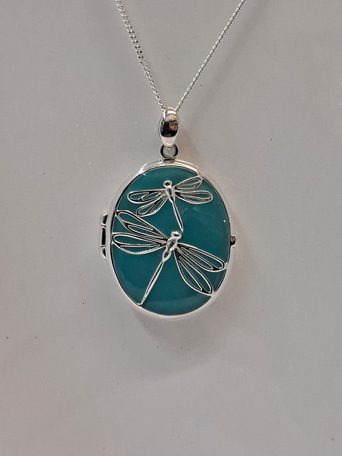 Silver Enamel Dragonfly Locket & Chain