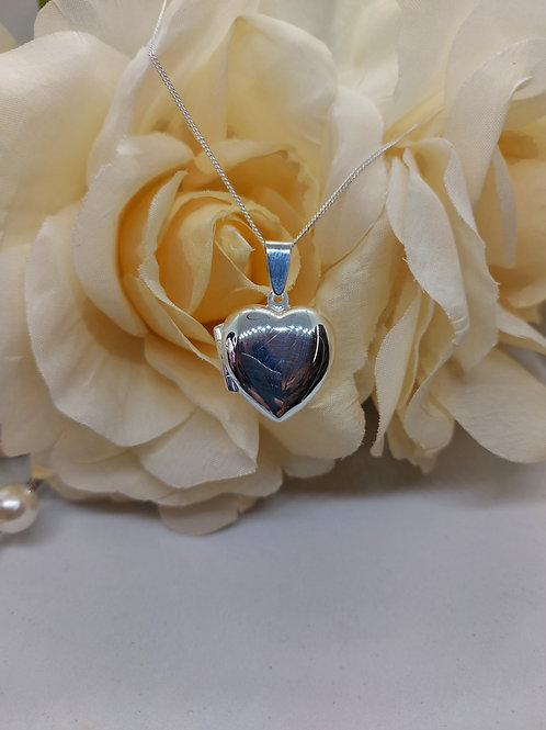 Silver heart locket with chain