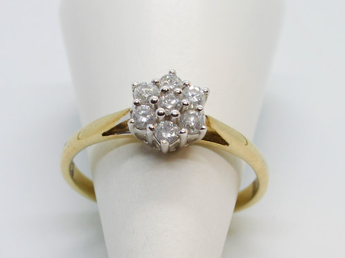 * 9ct gold Diamond cluster ring