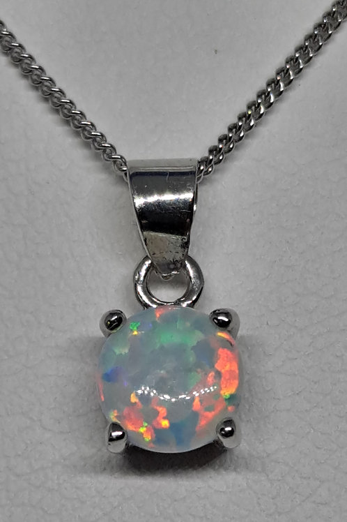 Silver White created opal pendant and chain