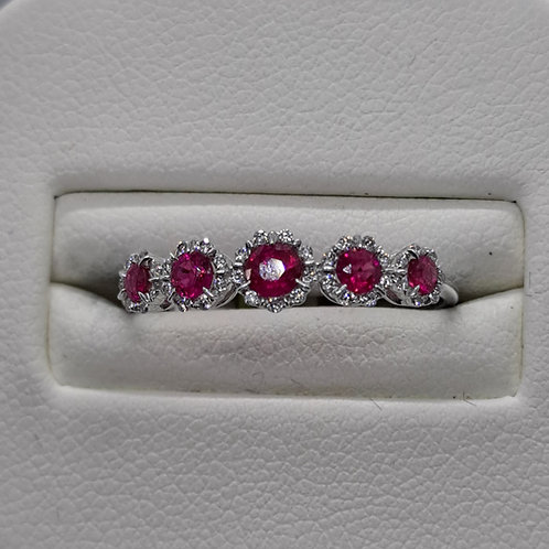 9ct white gold ruby and diamond flower half eternity ring
