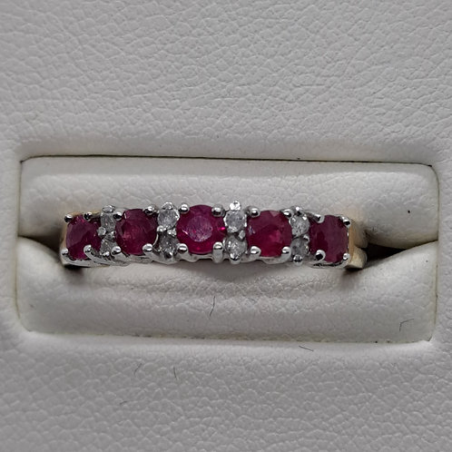 9ct  gold ruby and cubic zirconia  ring