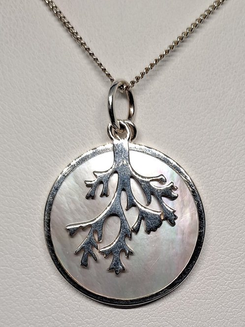 Siver Mother of Pearl tree of life pendant and chain