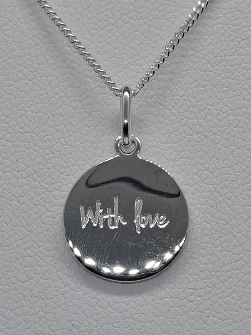 Silver 'with love' pendant & chain