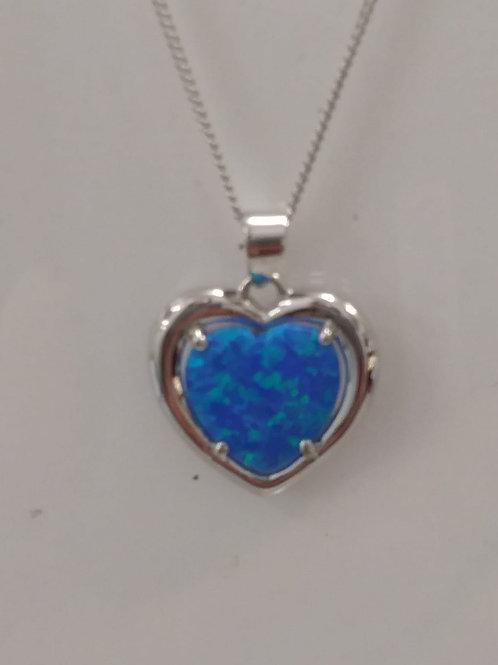 Created opal silver pendant & chain