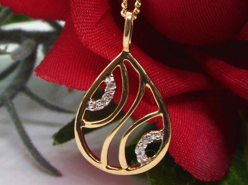 *9ct gold Diamond pendant and chain