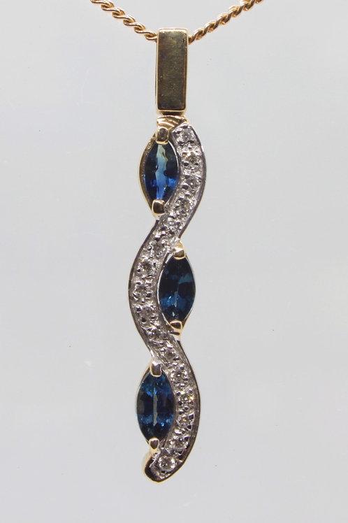 *9ct gold wave sapphire and diamond pendant
