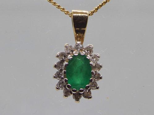 * 9ct gold Emerald and Diamond pendant