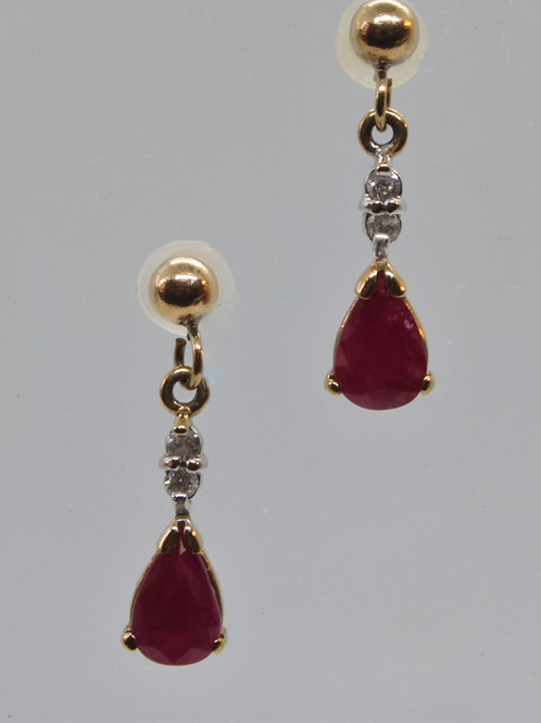 * 9ct gold Ruby and Diamond Earrings