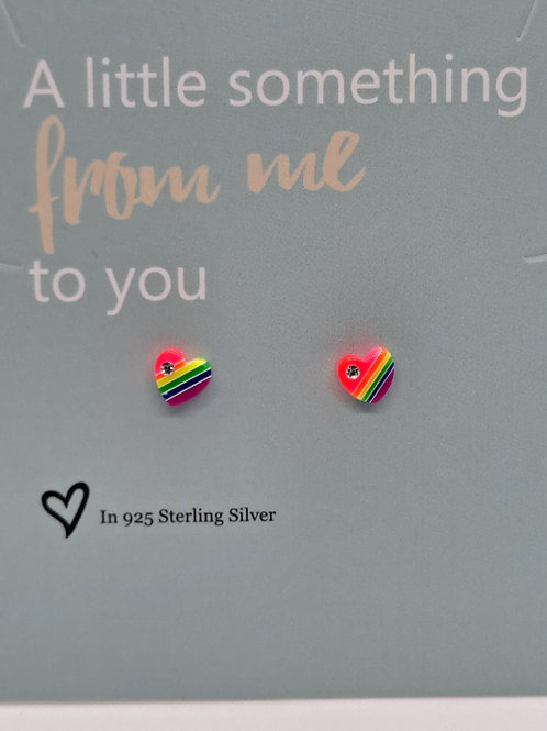 Rainbow hearts with silver posts