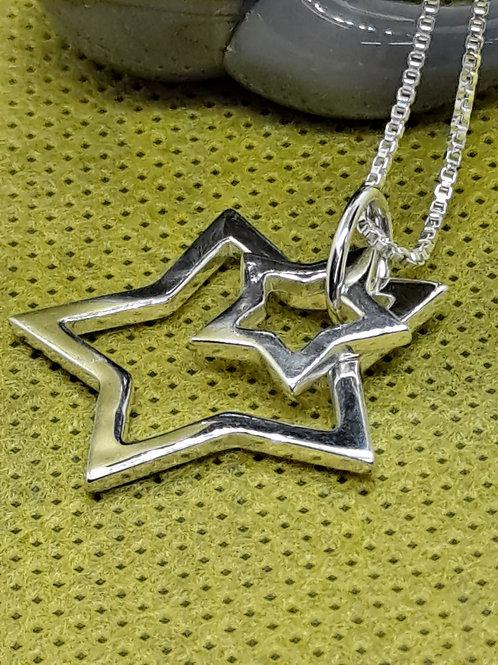Silver star pendant & chain