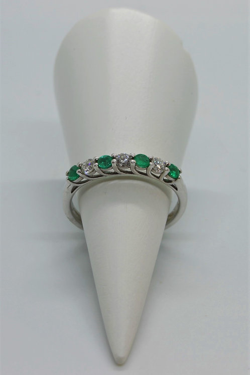* 9ct white gold Emerald and Diamond ring