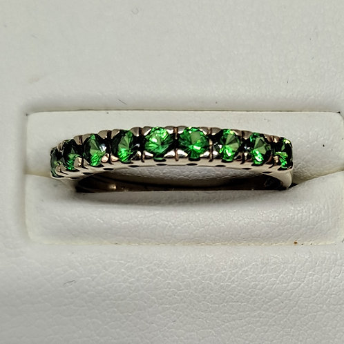 9ct Green Garnet half eternity ring