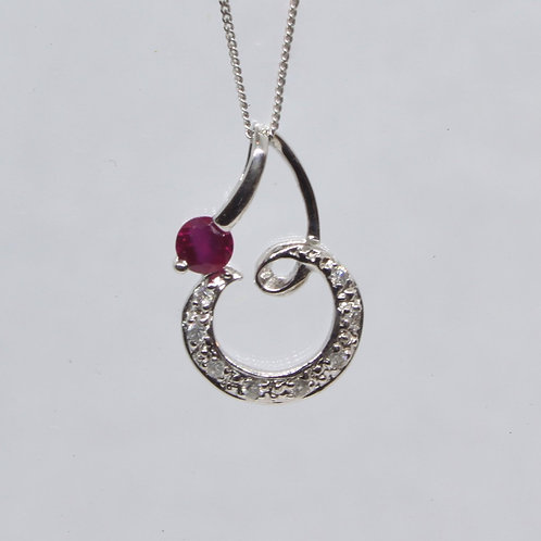 *18ct gold Ruby and Diamond pendant & 9ct chain
