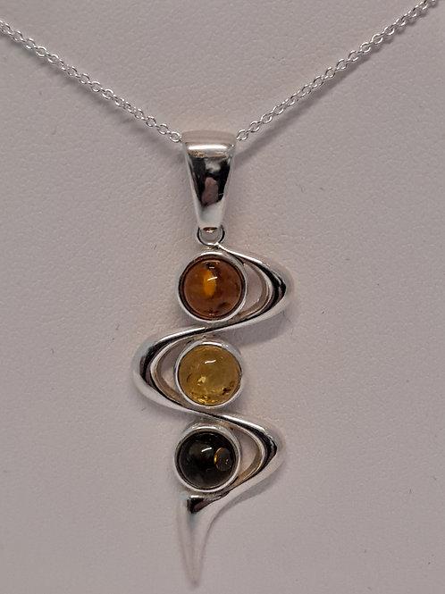 Tri-colour Amber pendant & chain