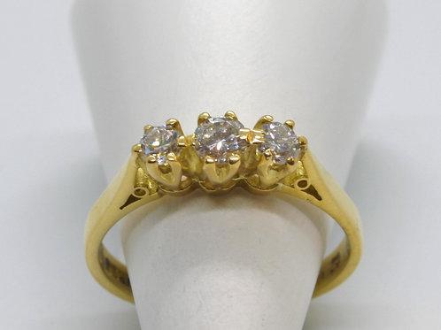 * 18ct gold Diamond trilogy ring