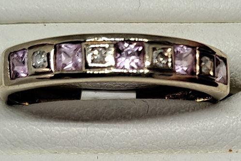 9ct diamond and pink sapphire half eternity ring