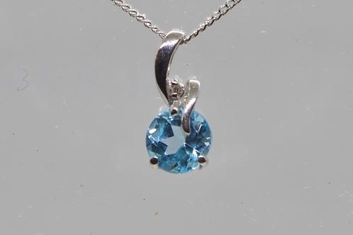 *9ct gold Blue Topaz and Diamond pendant & chain
