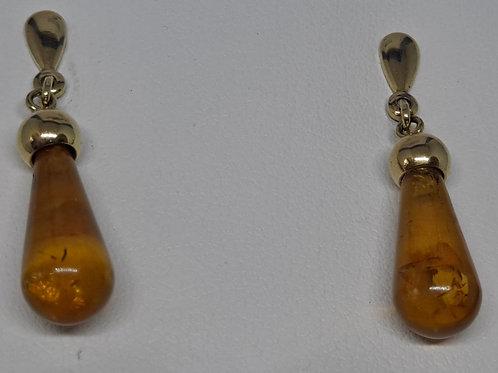 9ct honey Amber drop earrings